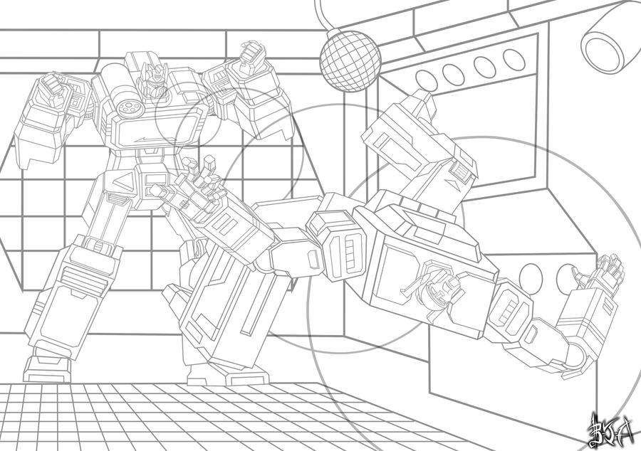 Commission: Soundwave vs Blaster sketch by Berty-J-A