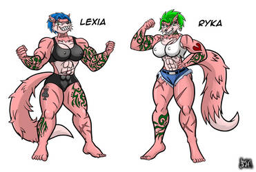 Lexia and Ryka the Anti Wolf pack twins by Berty-J-A