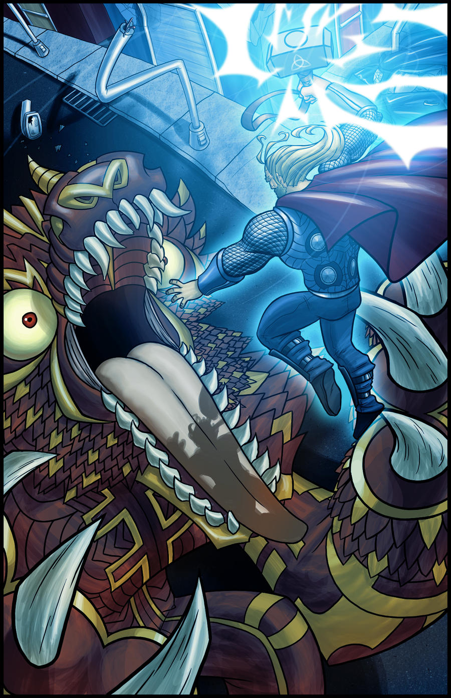 Thor Versus Fenrir By Darkeblue On Deviantart