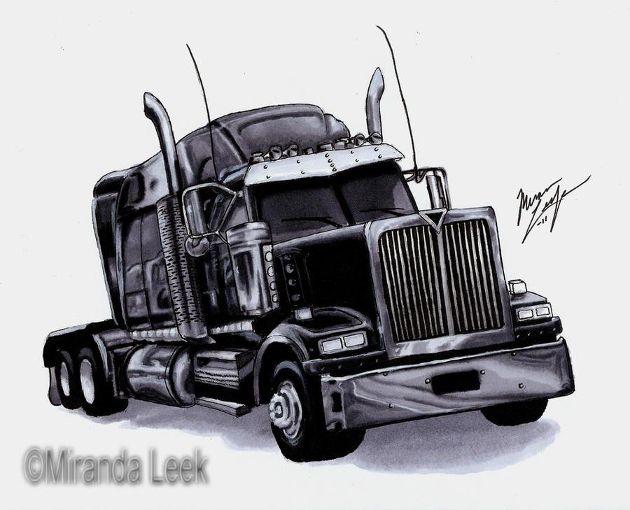 Semi Tractor Drawings : Semi truck by redcoaster on deviantart