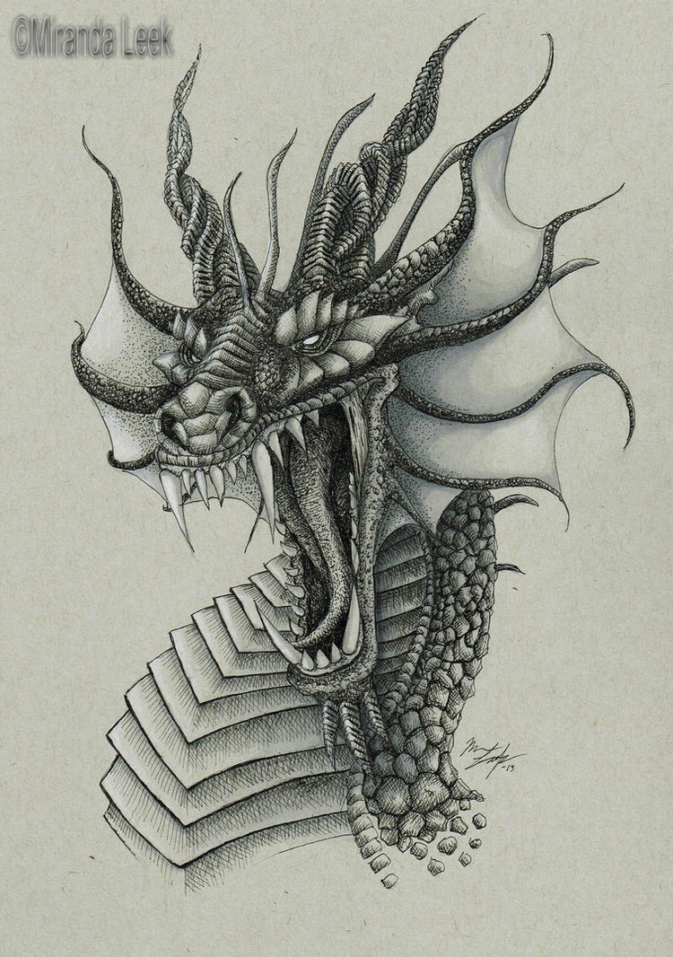Dragon Bust by RedCoaster on DeviantArt Drawings Of Dragons Realistic