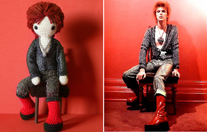 Crocheted version of Mick Rock photo of Bowie by missdolkapots