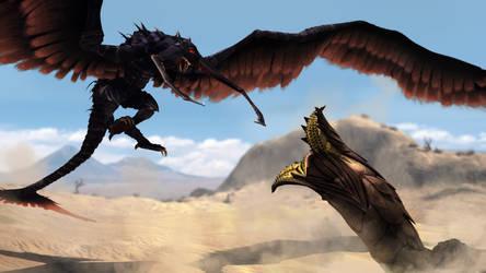 Omega monsters battle by Zairaam