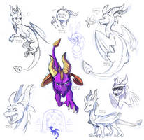 Spyro sketchdump by aacrell