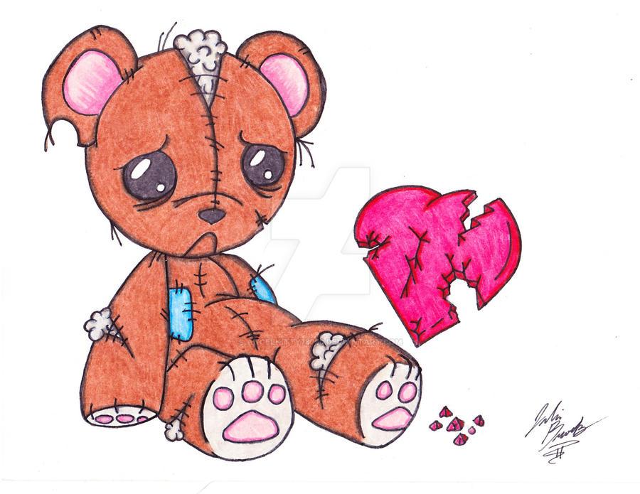 how to draw a cartoon teddy bear with a heart