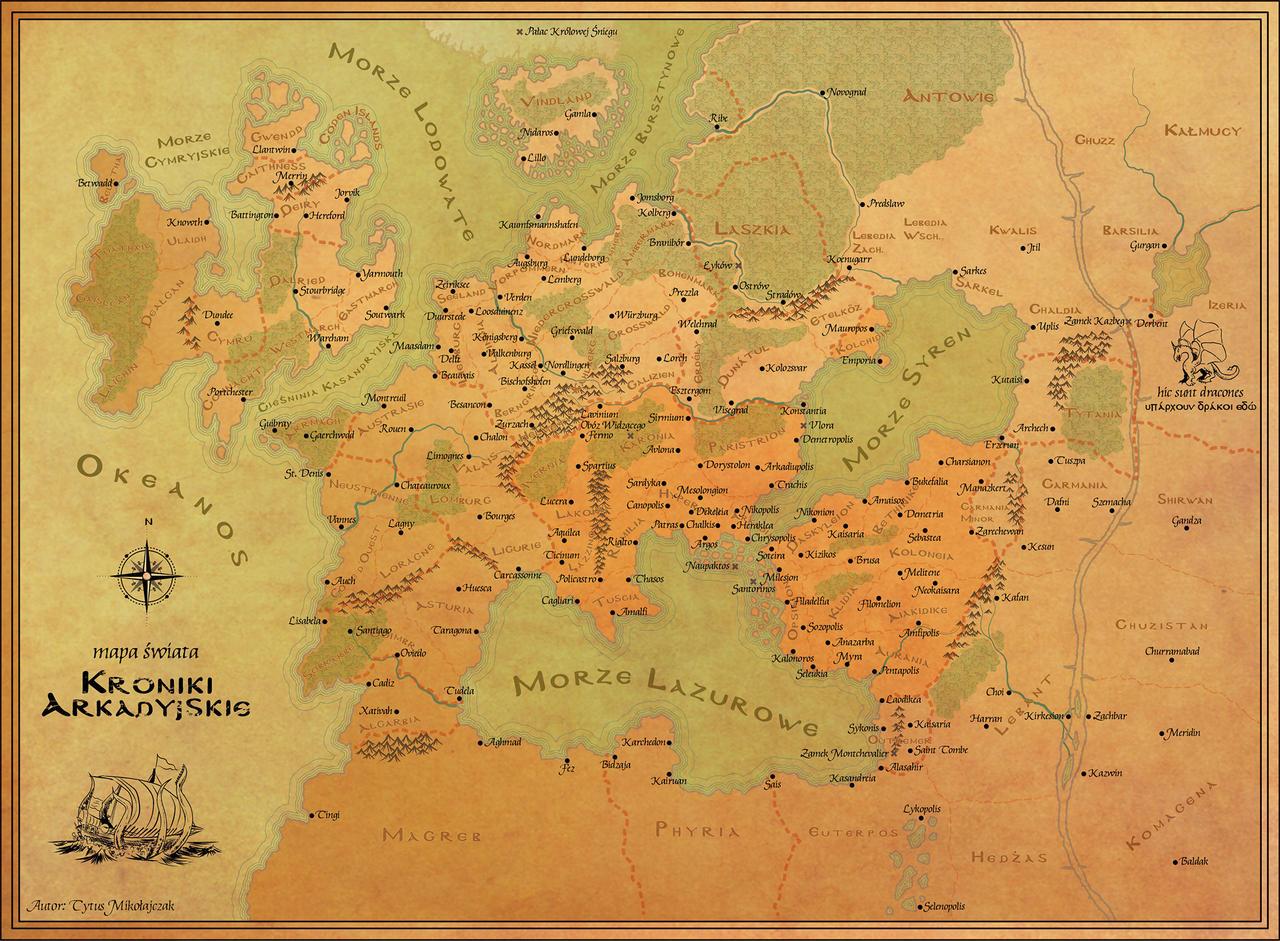 Map of the fantasy world 39 Arcadian Chronicles 39 by xshayarsha on Devia