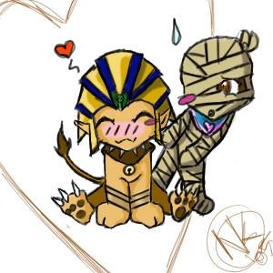 Sufinkusu and Miira by sphinx-mummy-club