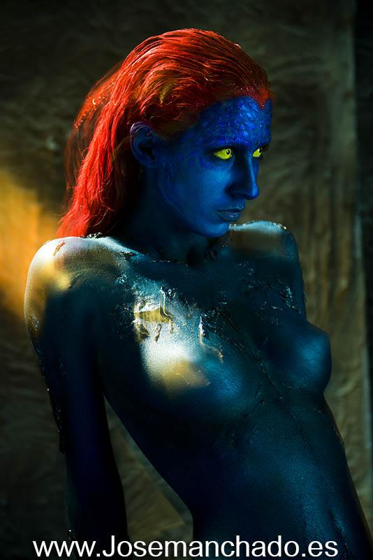 Body paint mystique x-men 3 by josemanchado