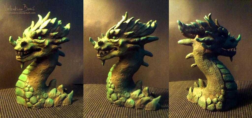 Green dragon bust by Nimphradora