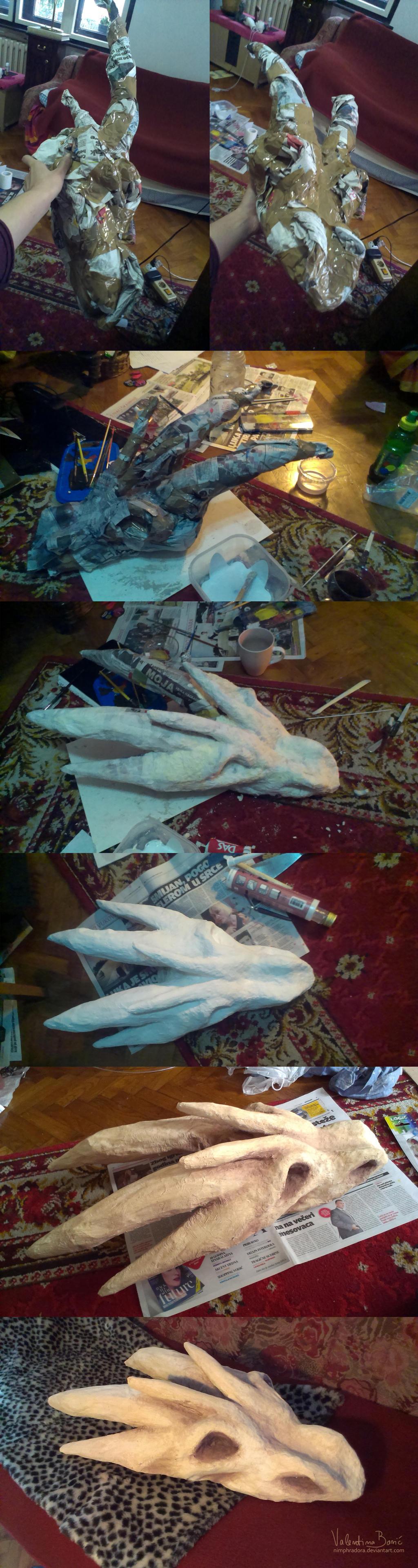 Creating paper dragon skull by Nimphradora