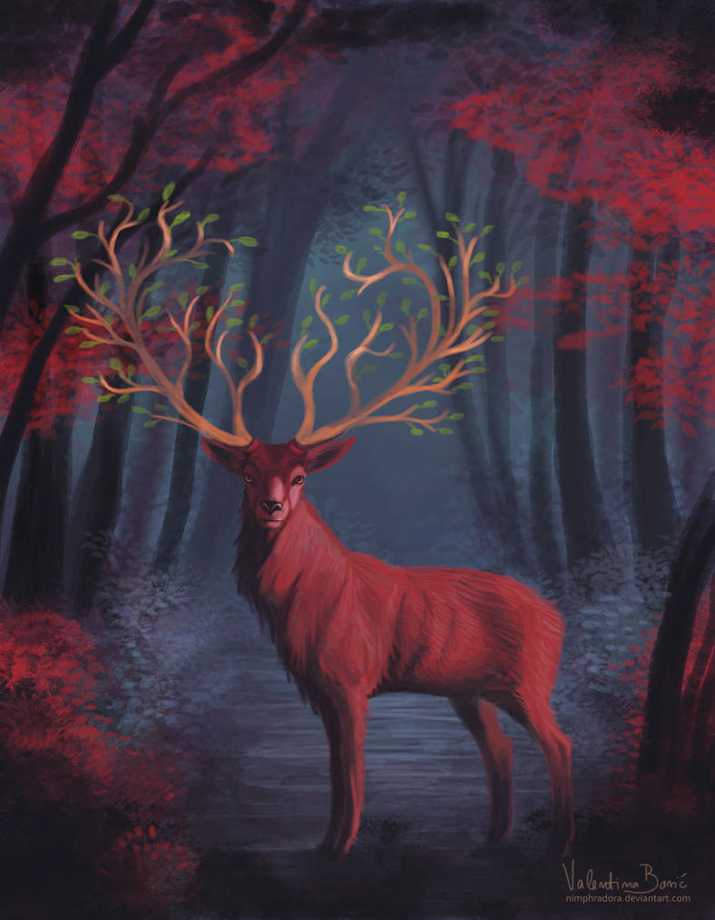 Red stag (comm) by Nimphradora