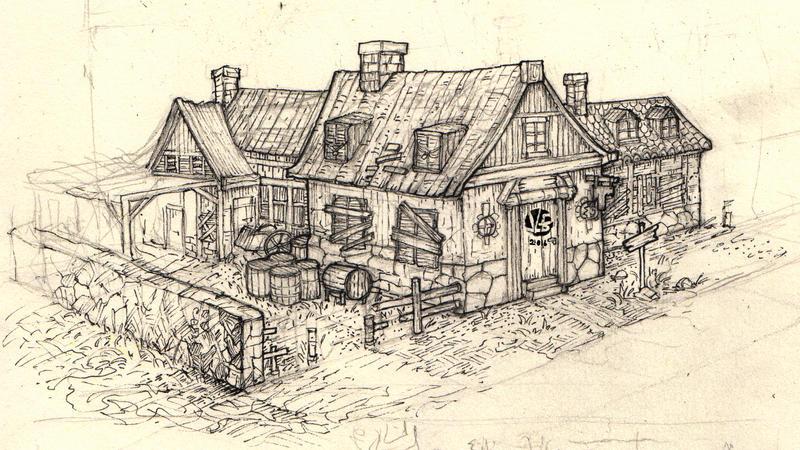 Tavern concept sketch by Nimphradora