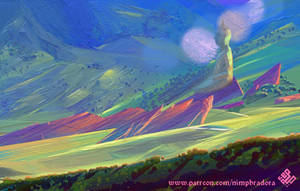 Green Plains with Red Rocks by Nimphradora
