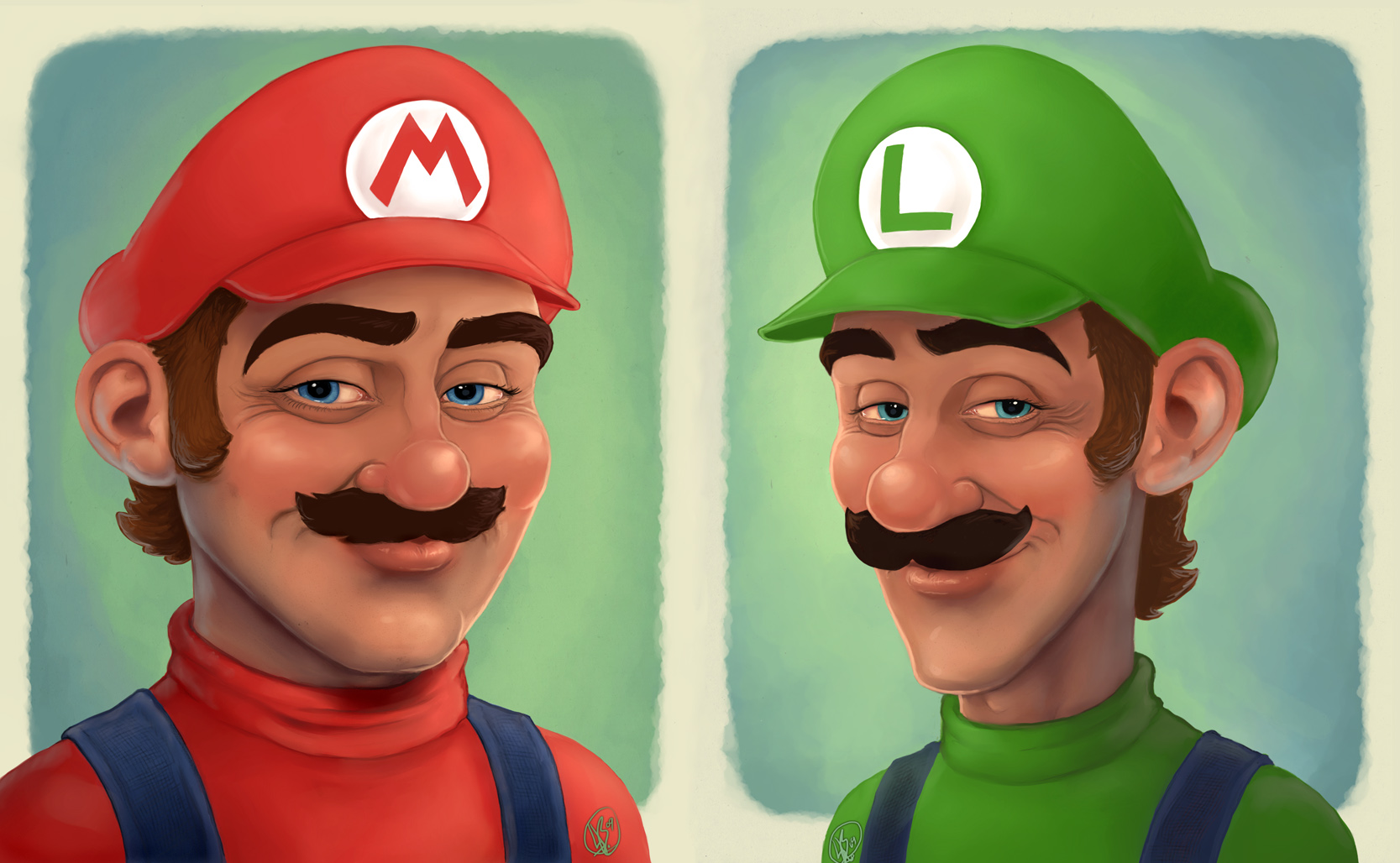 Portraits: Mario + Luigi by Elusive-Angel