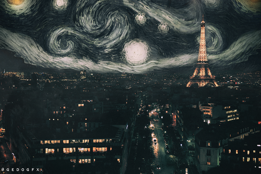 starry night in paris by Gedogfx