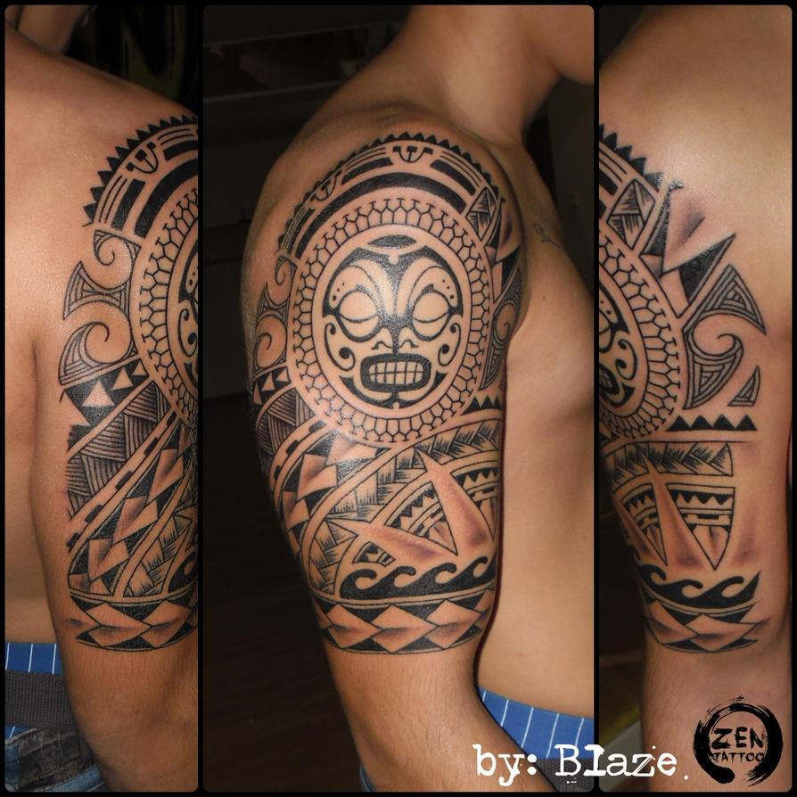 polynesian tribal half sleeve tattoo by blaze by blazeovsky on deviantart. Black Bedroom Furniture Sets. Home Design Ideas