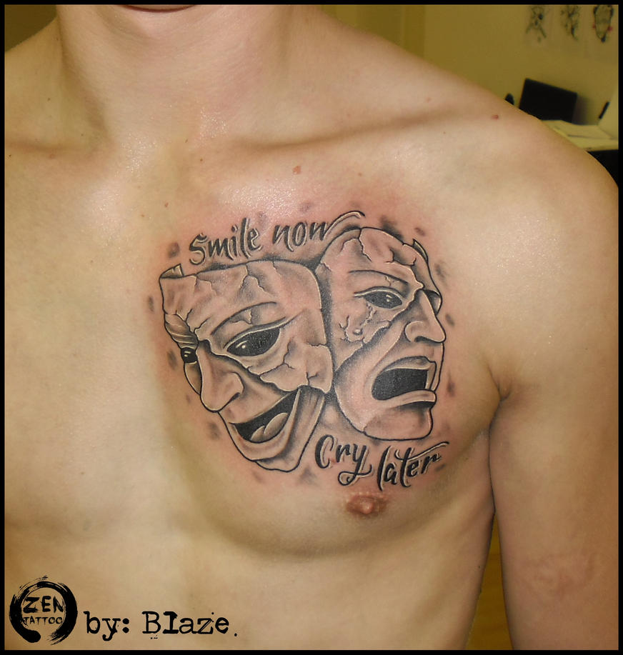 Smile now cry later tattoo by blazeovsky on deviantart for Smile more tattoo