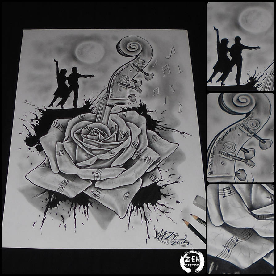 Music rose and dance pencil drawing by blaze by blazeovsky
