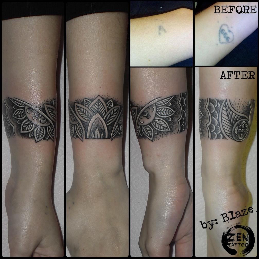 Ornamental Bracelet Tattoo On The Left Wrist Tattoo: Ornamental Bracelet Cover Up Tattoo By BLazeovsKy On