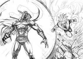 Goku vs Magneto by mikemaluk