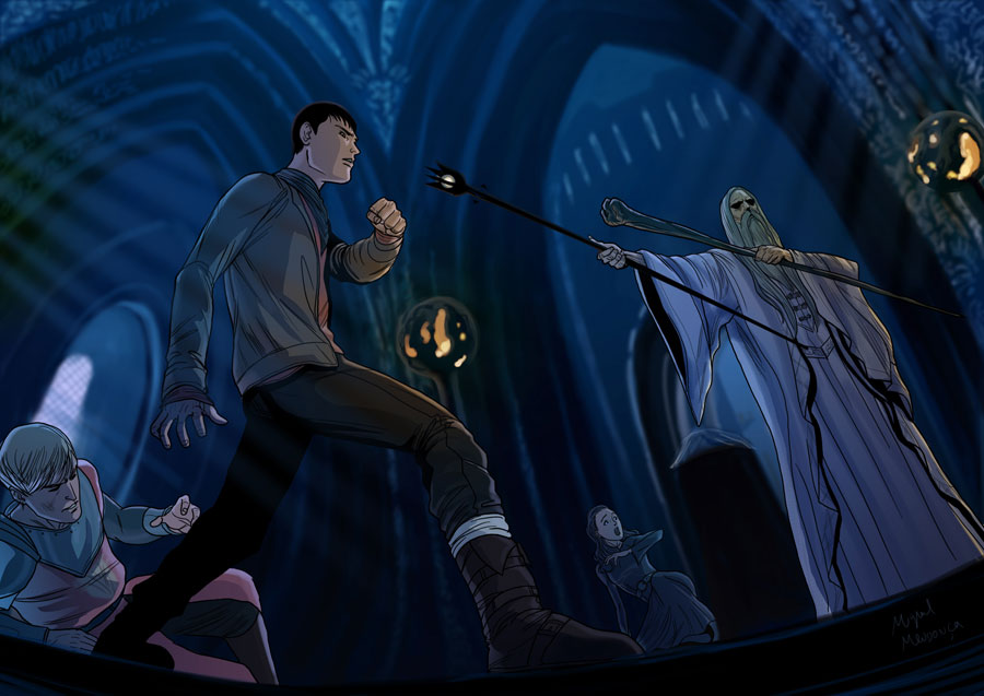 Merlin VS Saruman Commission by mikemaluk