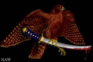 Falcon with Katana by weathereddragon