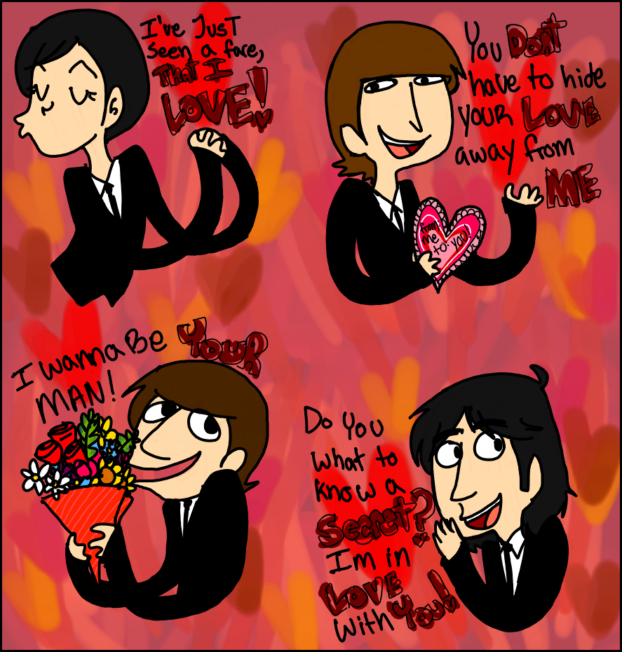 valentines day memes too and from - Beatles Vday Cards by Hi3ei on DeviantArt