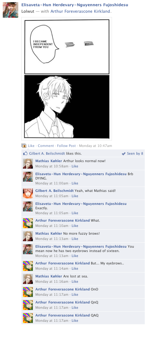 Hetalia Facebook: Run Away Eyebrows by gilxoz-epicness
