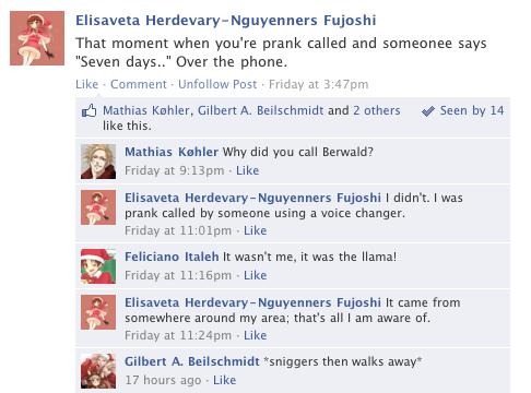 Hetalia Facebook: Prank Called by gilxoz-epicness