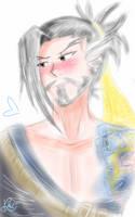 My tsundere archer - Hanzo Shimada (Overwatch) by Scarletu-Rozu
