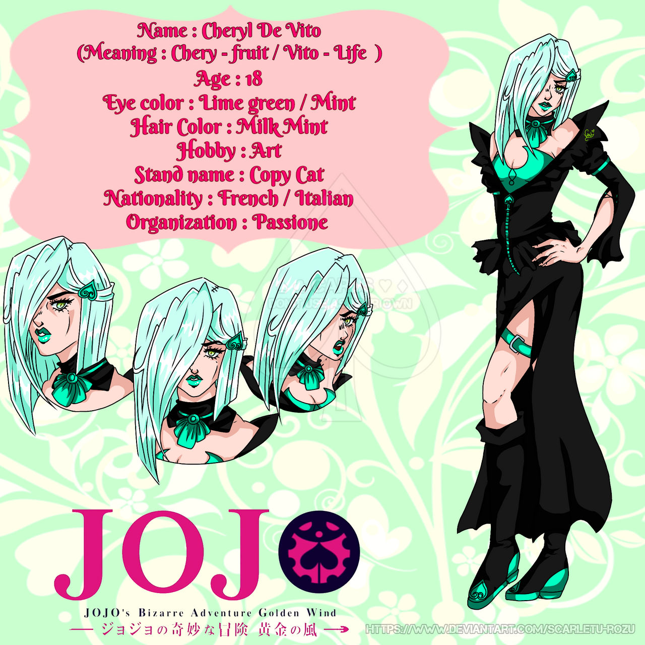 Cheryl De Vito ( JJBA Part 5 OC - About ) by Scarletu-Rozu on DeviantArt