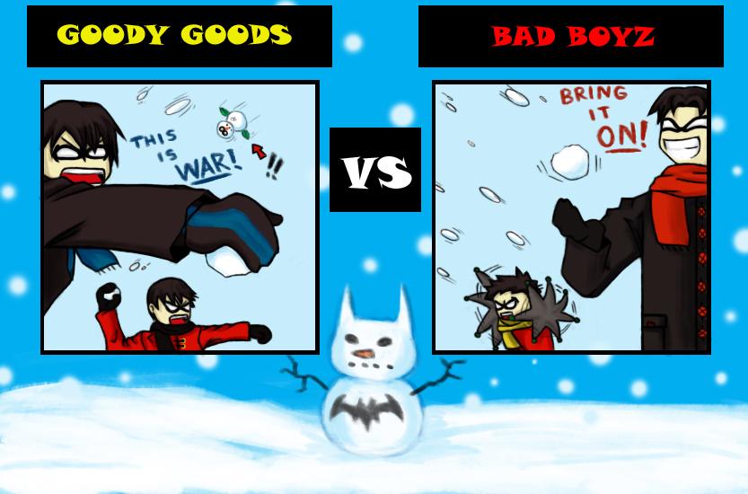 Bat Family Snowball Fight by CrimsonHorror