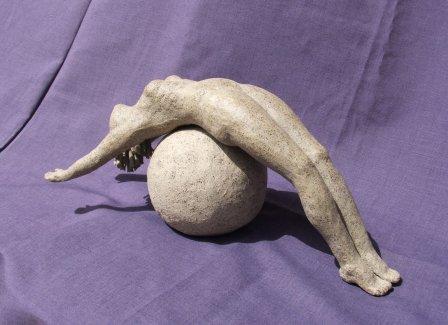 Woman on ball - 14x29cm by Kanchuk