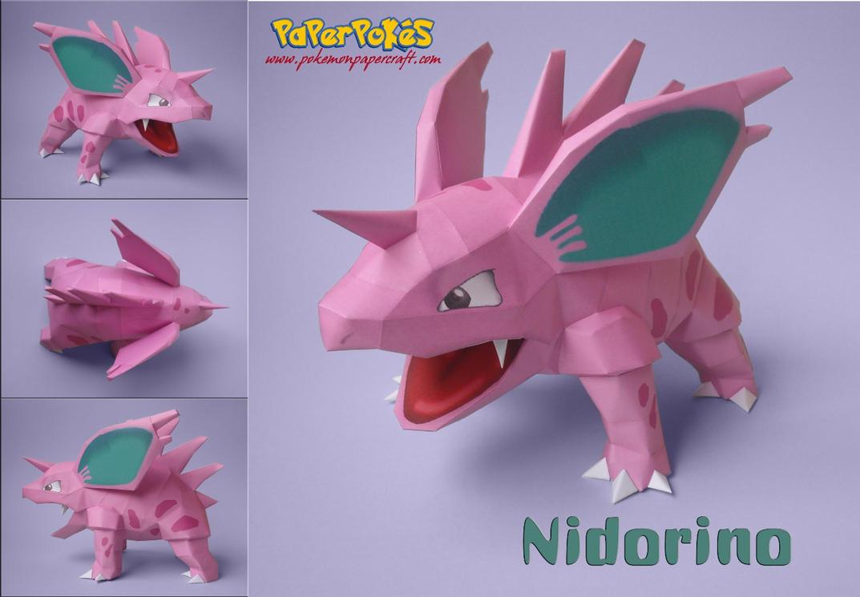 Nidorino Papercraft by Olber-Correa