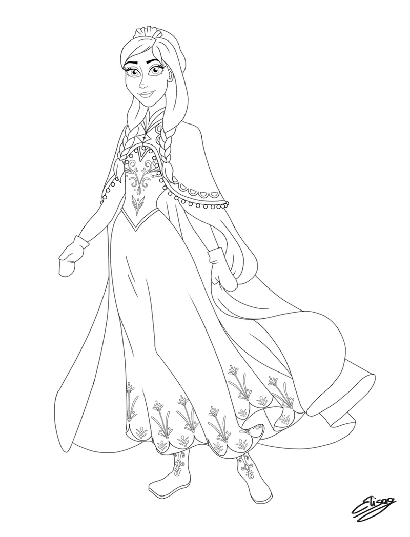 Disney Princess - Anna (Line Art) by ElyGraphic
