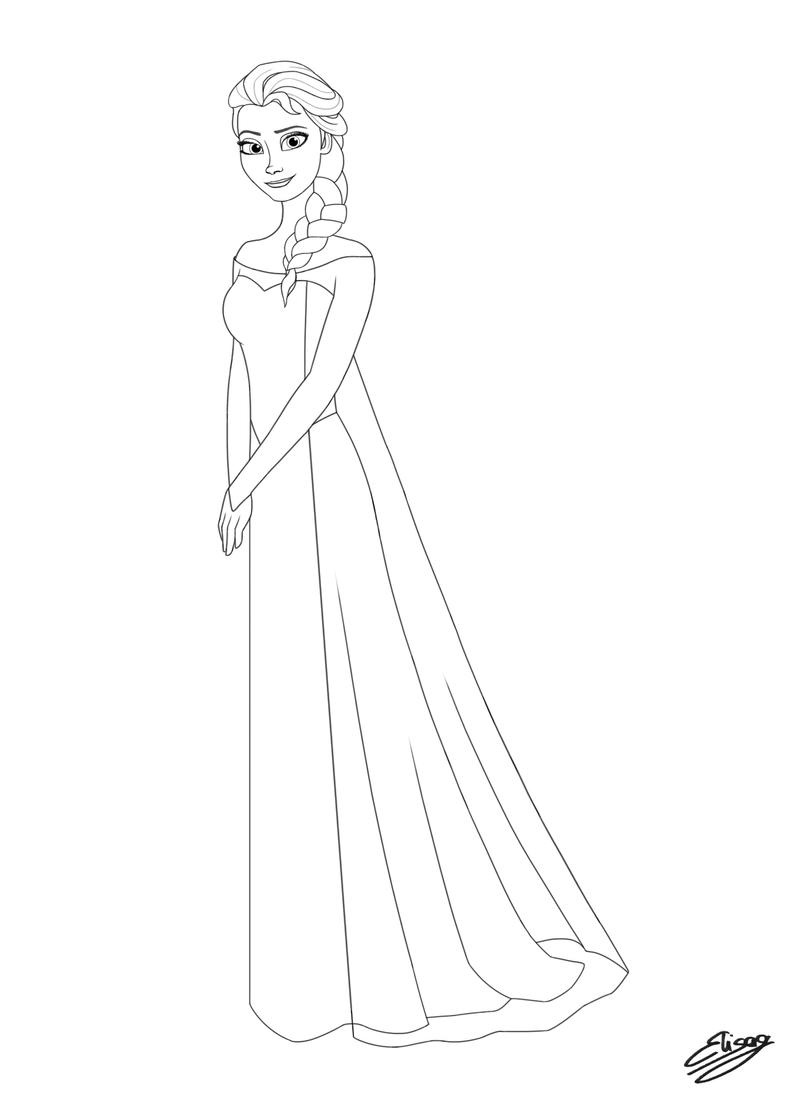 Disney Princess Elsa Line Art By Elygraphic On Deviantart Princess Elsa Drawing