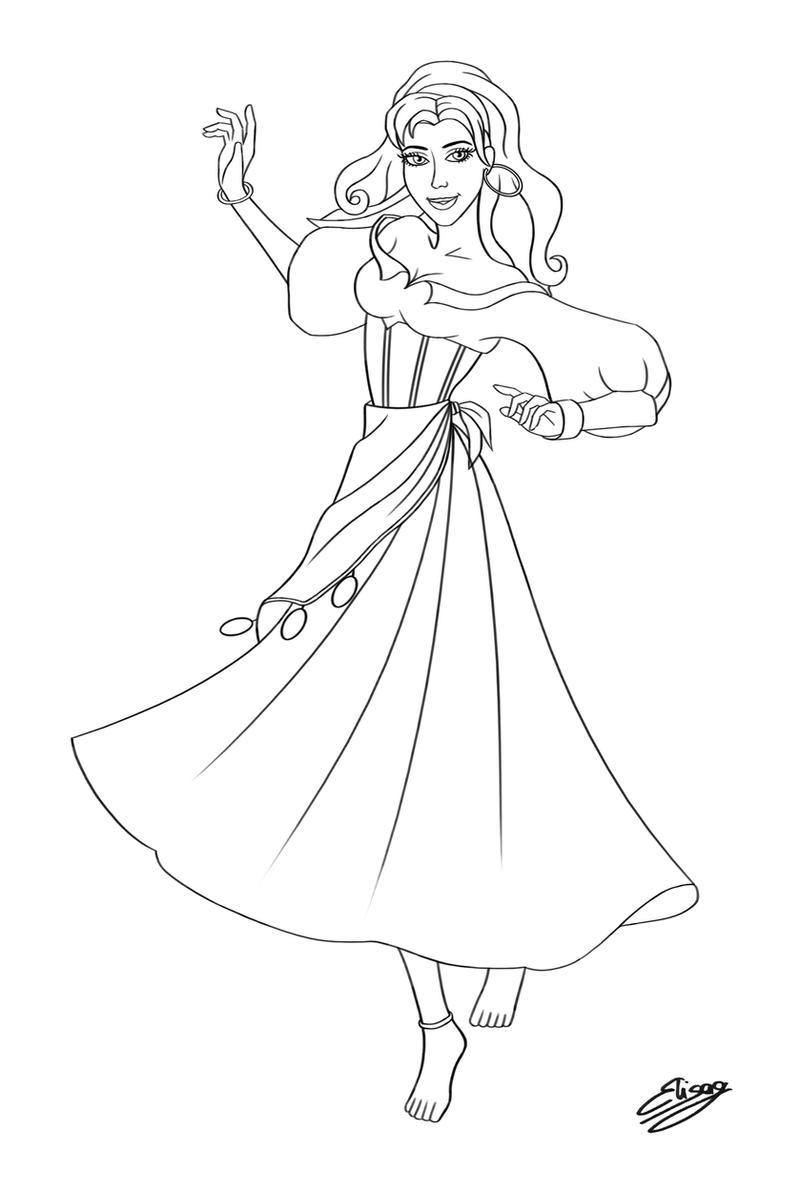 Line Art Disney : Disney character esmeralda line art by elygraphic on