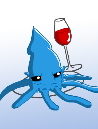 Octopus Dinner and Wine by wholetthemonstersout