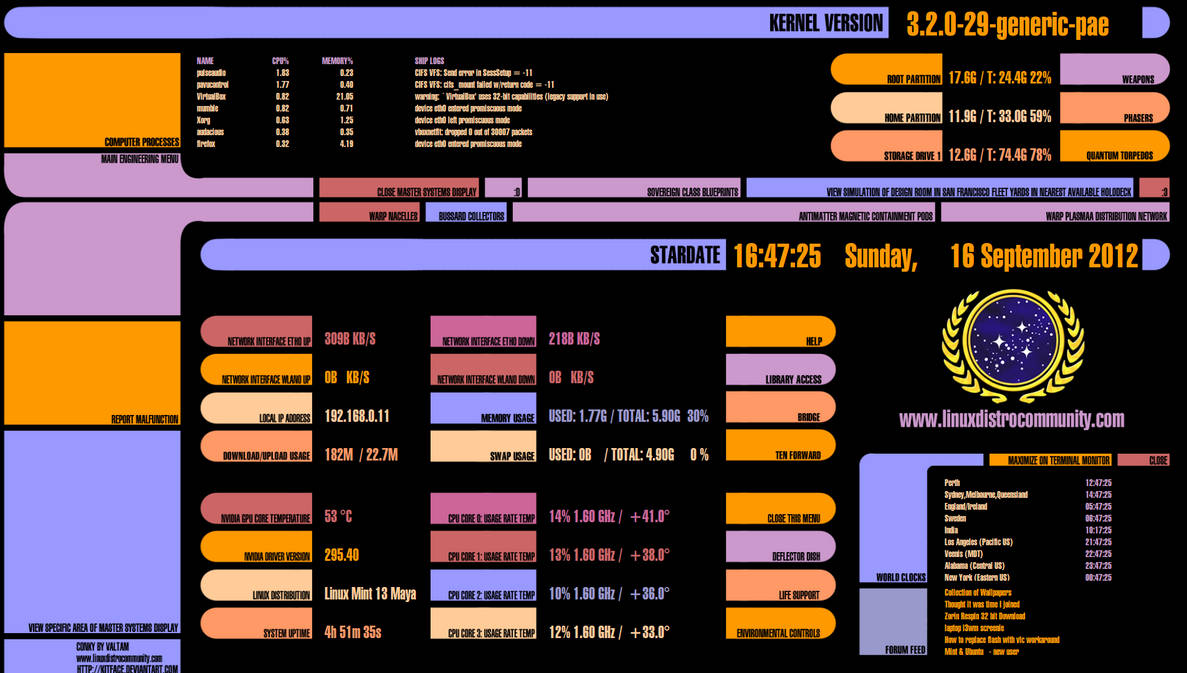 Star Trek LCARS Conky theme Linux Ubuntu by valtamnz on DeviantArt