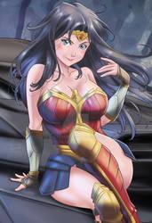 Wonder Woman on the Batmobile hood
