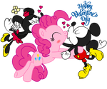 Mickey x Pinkie pie and Minnie, velentine's day by fanvideogames