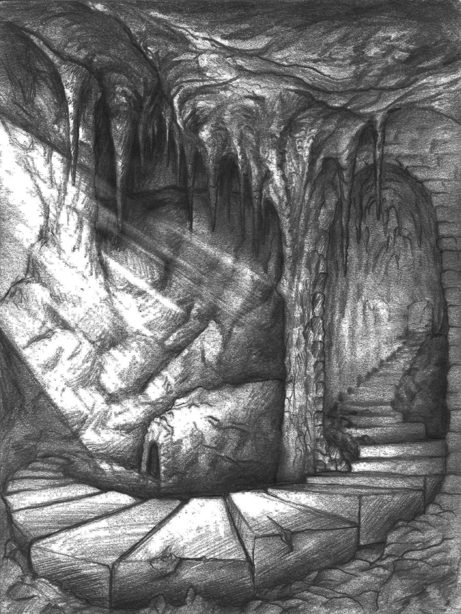 Cave stairs carved stone by vepsart on deviantart