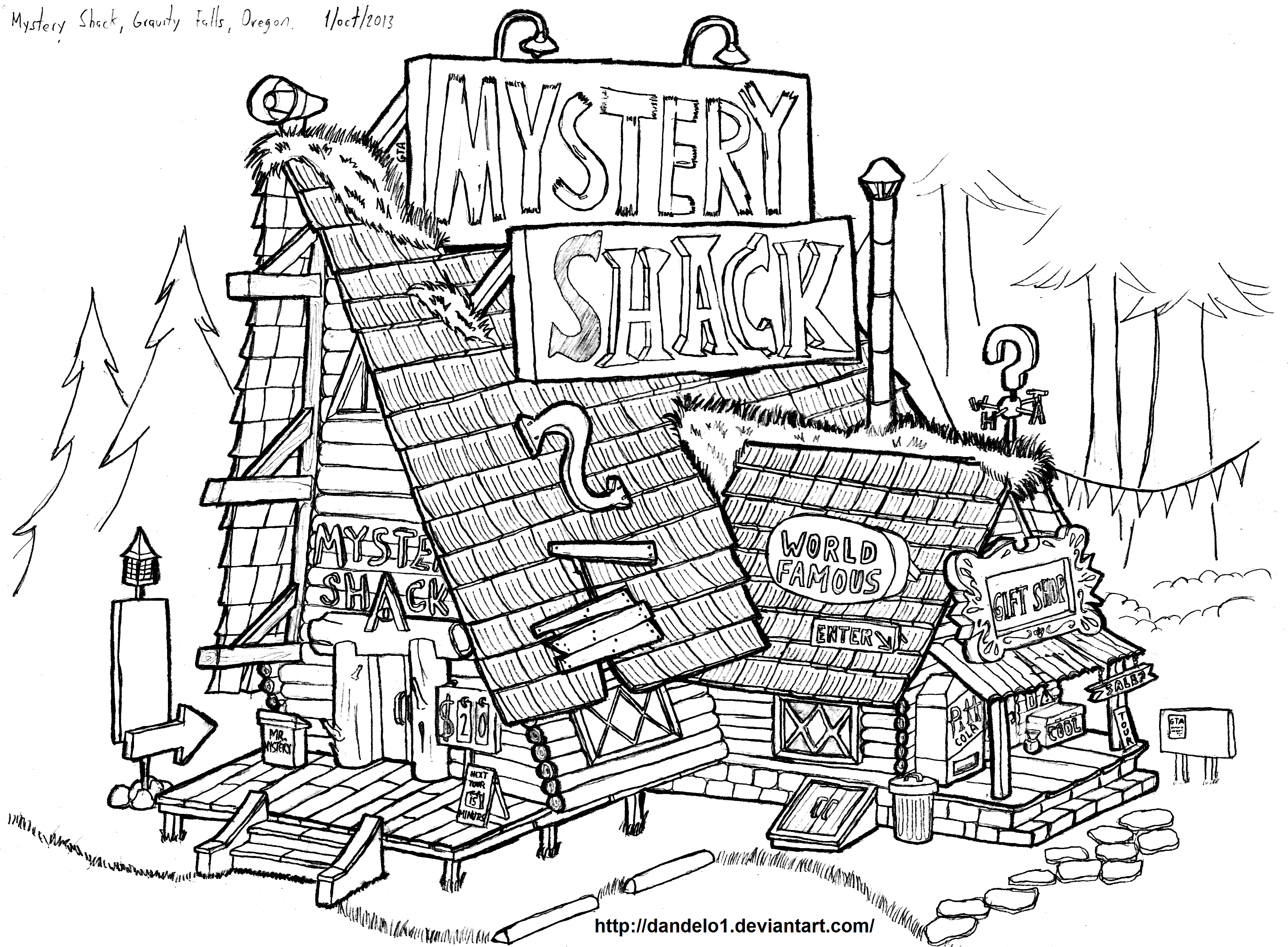 Mystery shack gravity falls oregon by dandelo1 on for Mystery coloring pages