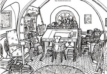 Bilbo's Study, Bag End - Hobbiton, The Shire by Dandelo1