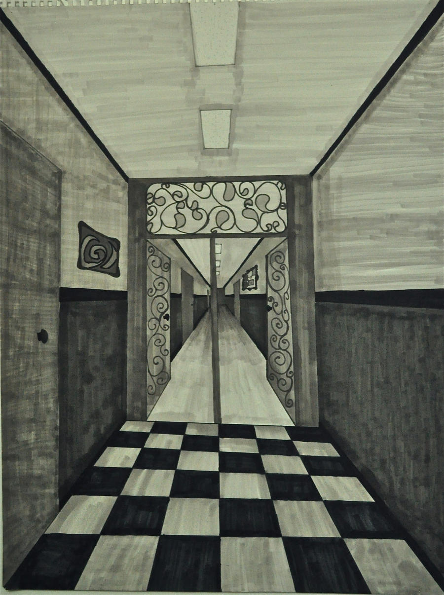 One Point Perspective Hallway By Bloodyantivalentines On