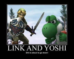 Link and Yoshi by MidnaCookies1425