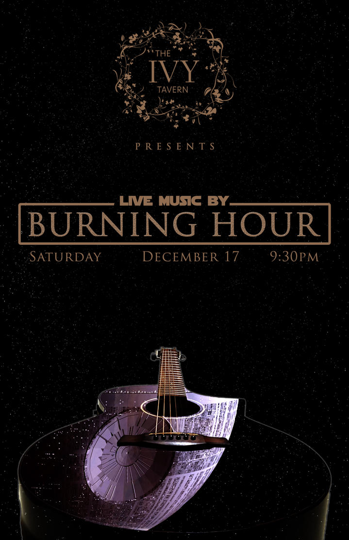gig poster for burning hour at Ivy Tavern 121716 by Nuveausapien