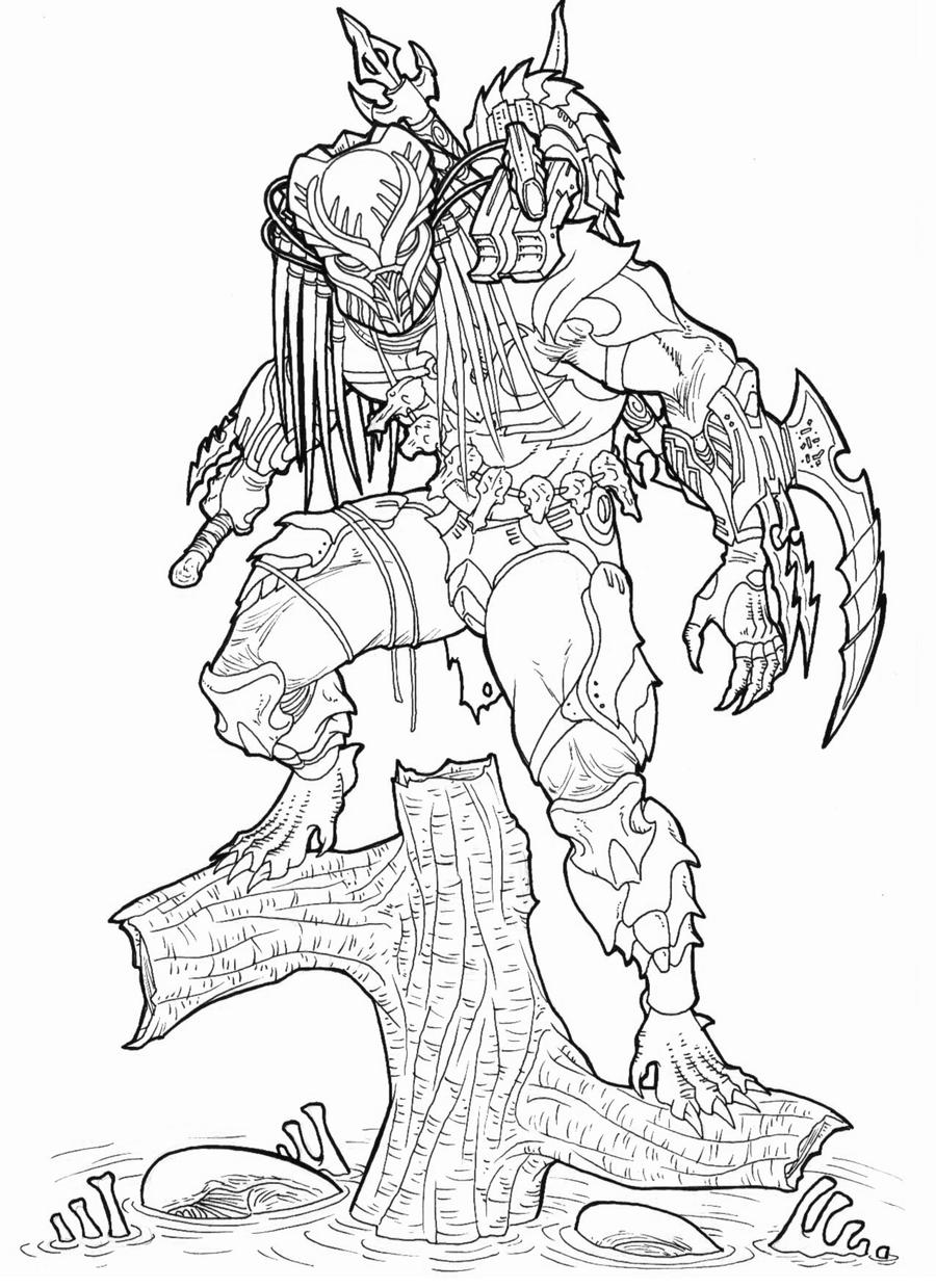 predator alien coloring pages - photo#17