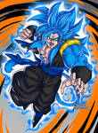 Goku SSGSS with Goku Xeno SSJ4 fusion