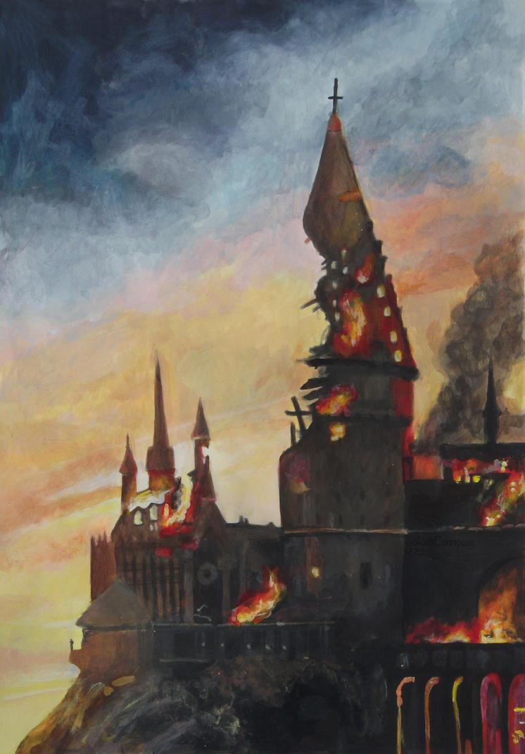 Burning Hogwarts by goldenConnpass